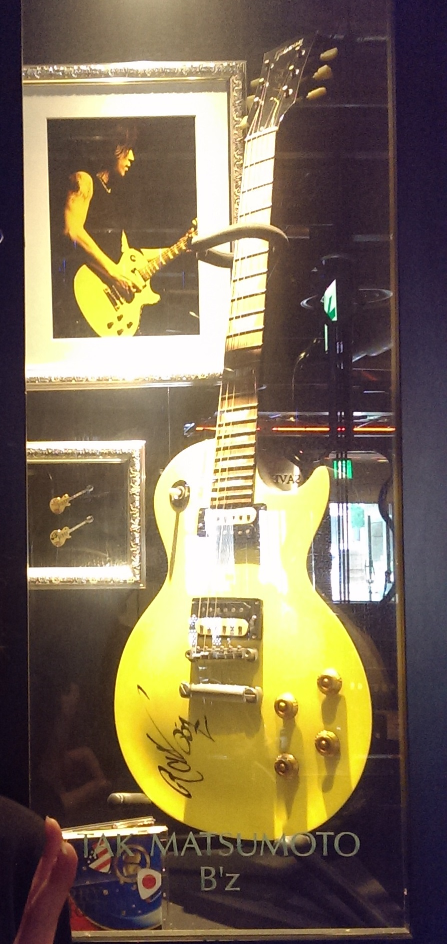Tak Matsumoto's guitar on display at the Hard Rock Cafe in Osaka