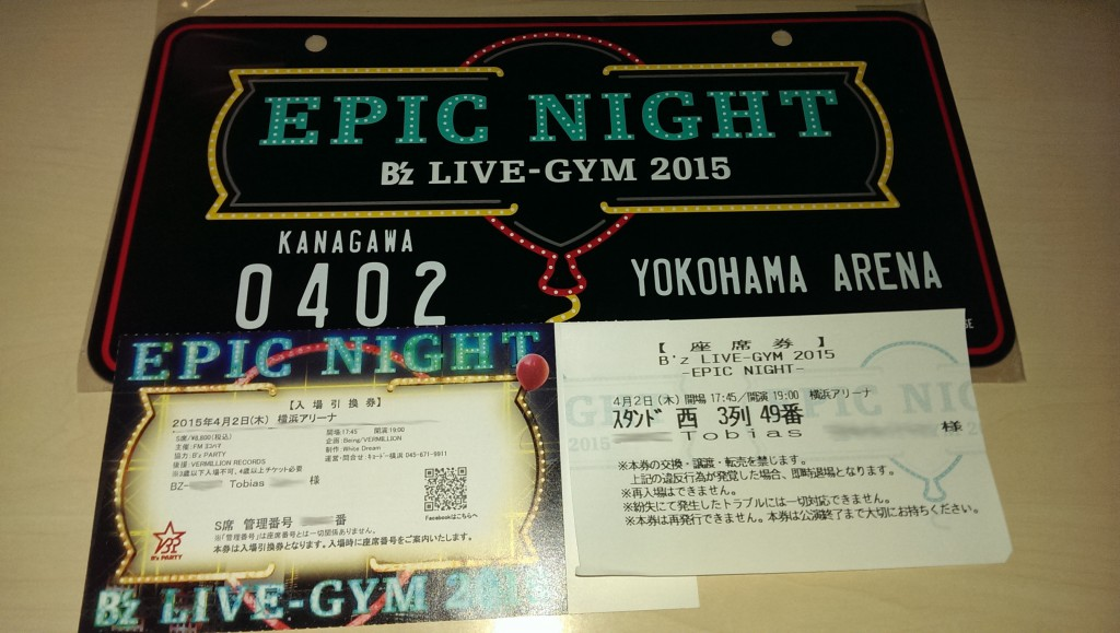 The fanclub ticket + seat ticket + memorial plate sold at the merchandise booth