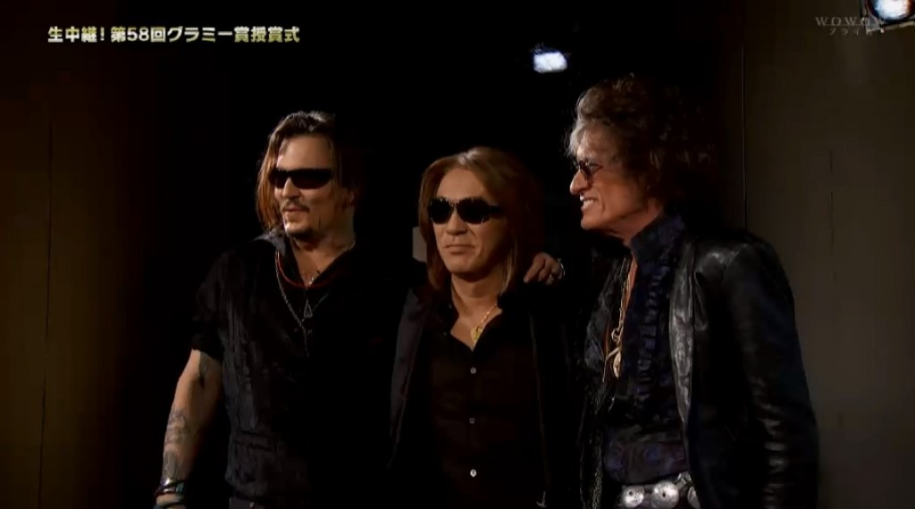 Tak Matsumoto Johnny Depp Joe Perry 58th Grammy Awards