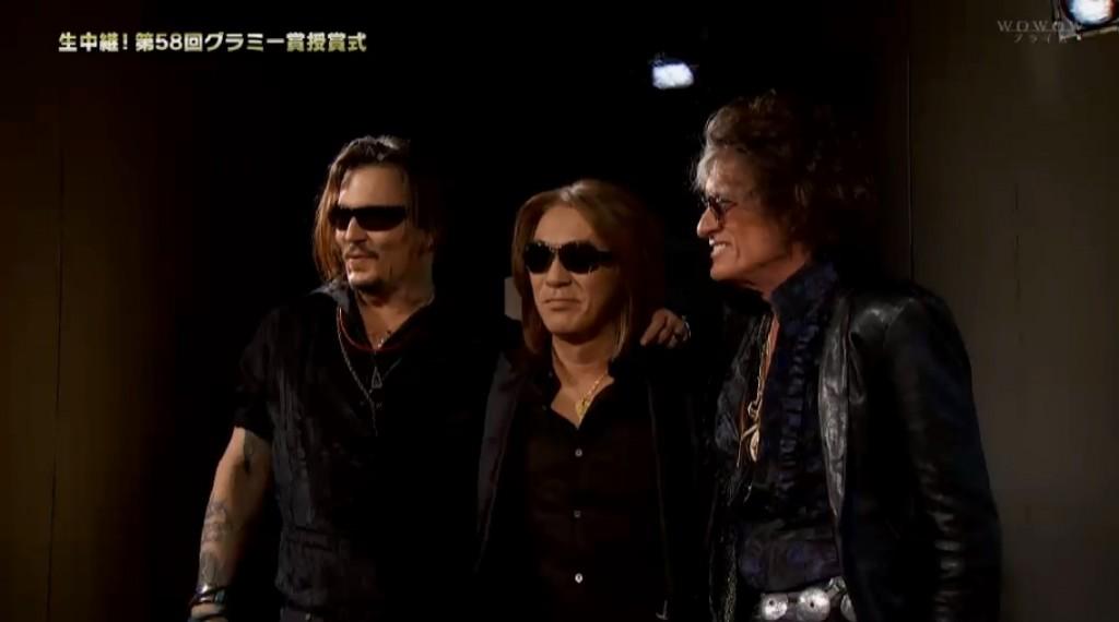 Tak Matsumoto Johnny Depp Joe Perry 58th Grammy Awards